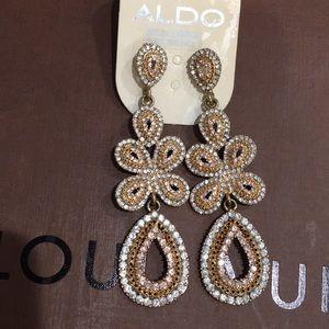 NEW ALDO GOLD AND DIAMOND DANGLING EARRINGS